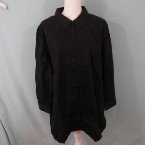 Denim & Co 2X Black Dress shirt long sleeve  G15